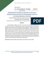 Preliminary Phytochemical Screening, Quantitative Estimation and Evaluation of Antimicrobial Activity of Alstoniamacrophylla Stem Bark_ijsit_2.1.4