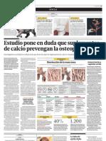 Estudio Pone en Duda Que Suplementos de Calcio Prevengan Osteoporosis