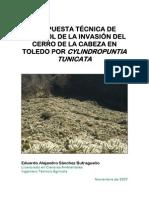 Propuesta de control de la invasión en Toledo de Cylindropuntia tunicata