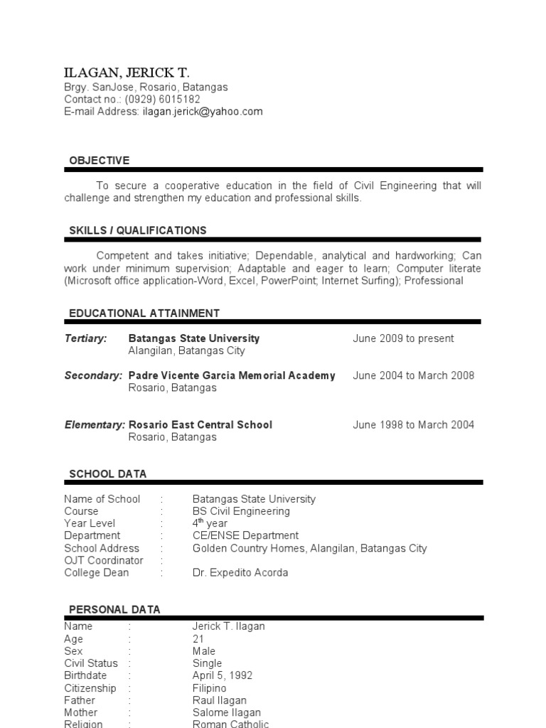 sample resume objective for ojt engineering students resume