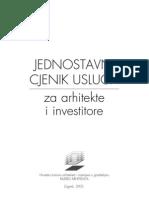 Cjenik Usluga Za Arhitekte i Investitore