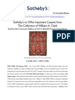 Sotheby's to Offer Important Carpets from The Collection of William A. Clark Sold by the Corcoran Gallery of Art to Benefit Future Acquisitions