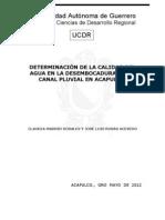 DETERMINACIÓN DE LA CALIDAD DEL AGUA EN LA DESEMBOCADURA DE UN CANAL PLUVIAL EN ACAPULCO.