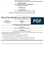 HEALTHCARE REALTY TRUST INC 8-K (Events or Changes Between Quarterly Reports) 2009-02-23