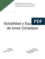 Solubilidad y Equilibrios de Iones Complejos Seccion A