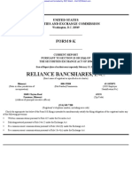 Reliance Bancshares, Inc. 8-K (Events or Changes Between Quarterly Reports) 2009-02-23