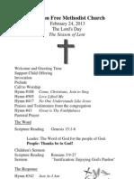 Mt Zion Bulletin 2-24-13