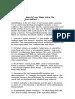 10 Ceremonial Speech Topic Ideas Using The Identification Method.doc