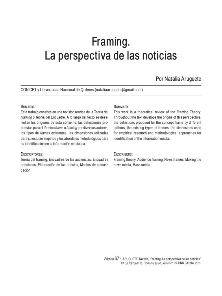 Framing. La Perspectiva de Las Noticias