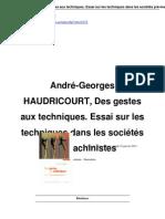 André-Georges HAUDRICOURT, Des gestes aux techniques. Essai sur les techniques dans les sociétés pré-machinistes