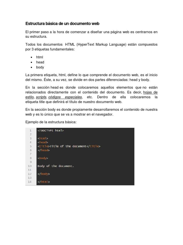 Estructura Básica De Un Documento Web Docx