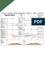 Peace Lutheran Church March Calendar