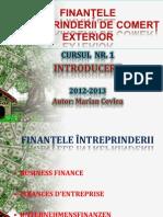 CURSUL  NR. 1 - INTRODUCERE ÎN FINANȚELE ÎNTREPRINDERII DE COMERȚ EXTERIOR