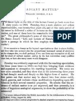 Sir William Crookes on Radiant Matter