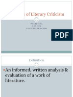 Political, Gender and Post-Modernism Literary Criticism