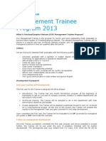 Management Trainee Program 2013
