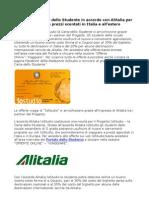 IoStudio e Alitalia per viaggiare a prezzi scontati in Italia e all'estero
