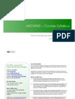 MKT4900 Online Marketing Strategies - Syllabus (Spring 2013)