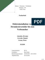 Gruppe 4 Facharbeit Elektroinstallation Vom Stromkreisverteiler Bis Zum Verbraucher