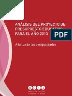 Análisis del proyecto de presupuesto educativo para el año 2013