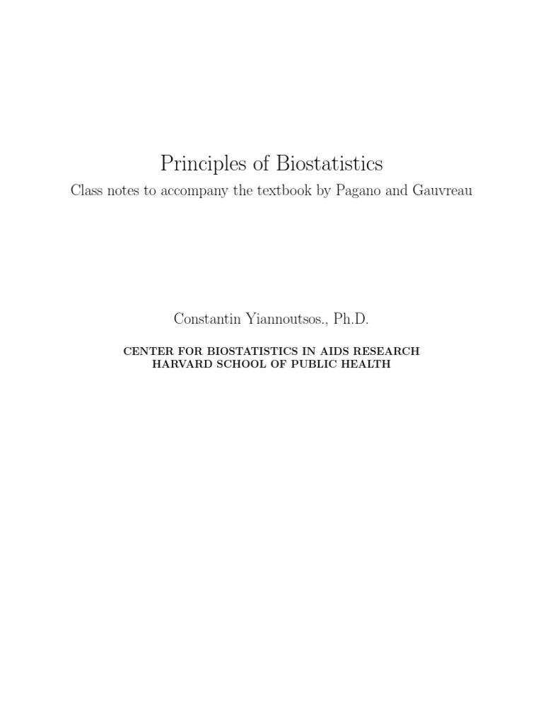 Principles of Biostatistics | Probability Theory | Probability Distribution