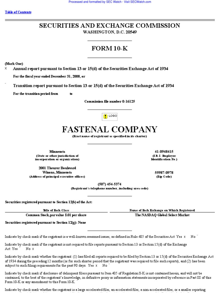 Fastenal Co 10 K Annual Reports 2009 02 20 Form 10 K Employment