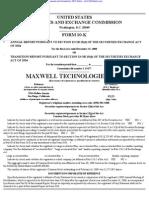 MAXWELL TECHNOLOGIES INC 10-K (Annual Reports) 2009-02-20
