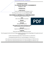 MAVERICK MINERALS CORP 8-K (Events or Changes Between Quarterly Reports) 2009-02-20