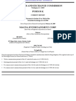 MAGNA ENTERTAINMENT CORP 8-K (Events or Changes Between Quarterly Reports) 2009-02-20