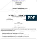 MEDCOM USA INC 8-K (Events or Changes Between Quarterly Reports) 2009-02-20