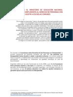 Informe sobre presentación en Nación