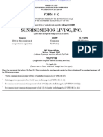 SUNRISE SENIOR LIVING INC 8-K (Events or Changes Between Quarterly Reports) 2009-02-20