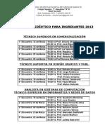 horarios PROPEDEUTICO CURSO 2013