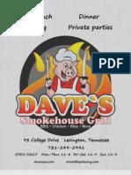 Dave's Smokehouse Grill Menu