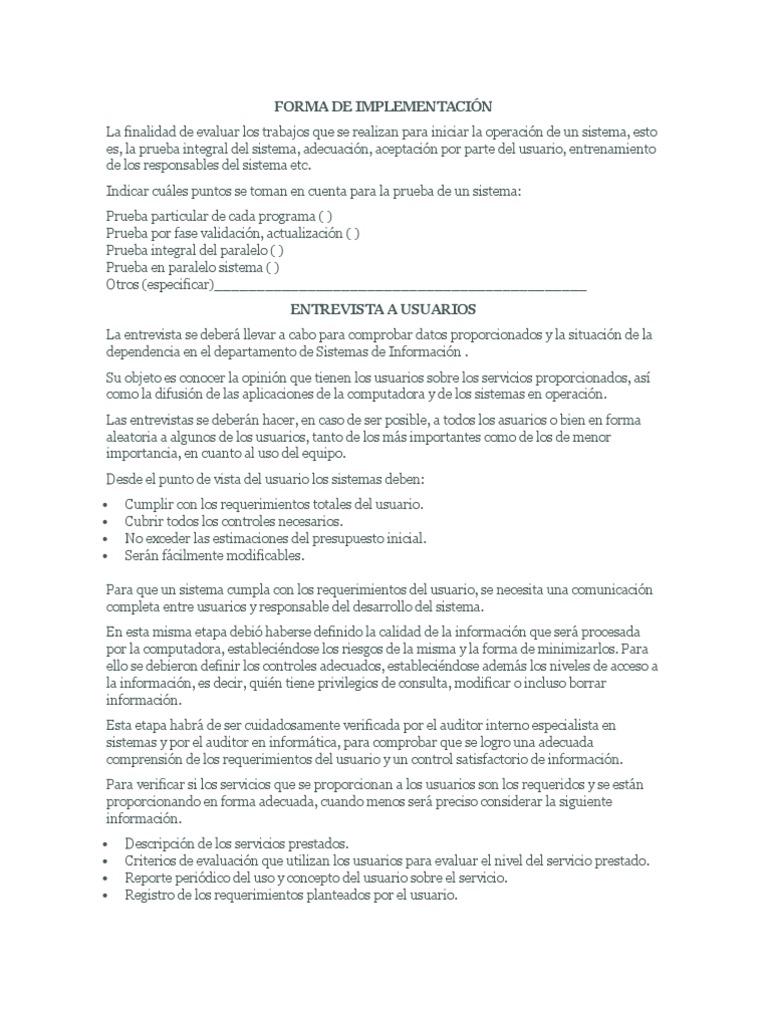 FORMA DE IMPLEMENTACIÓN sistemas y procedimiento