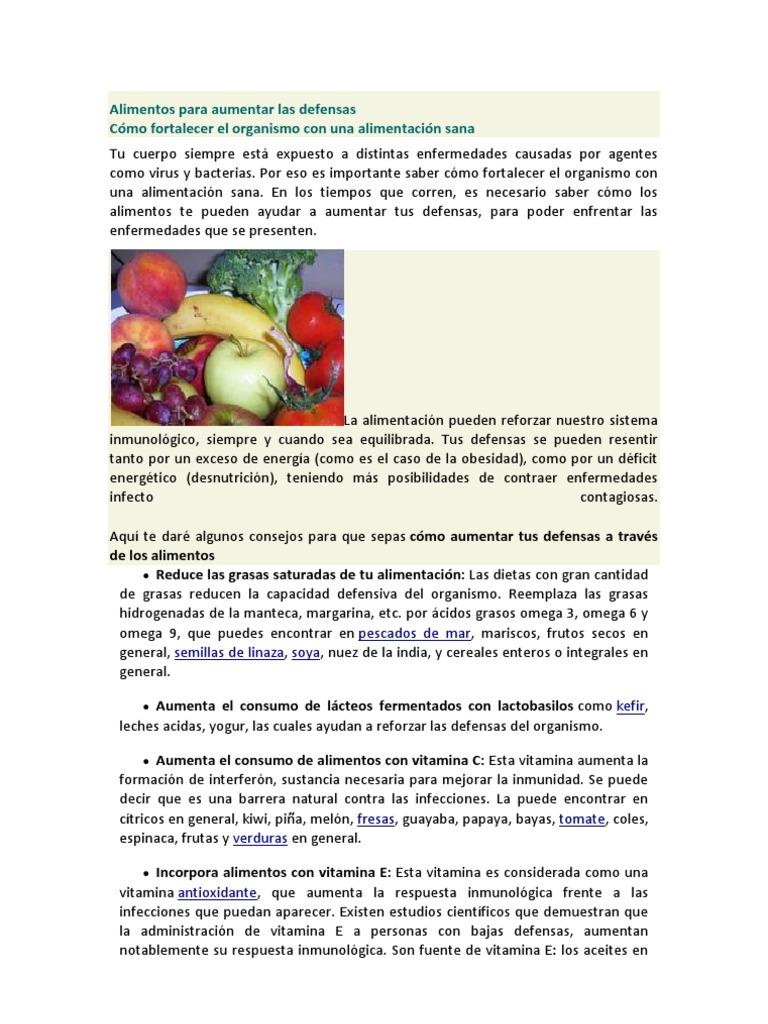 alimentos que fortalecen nuestro sistema inmunologico pdf