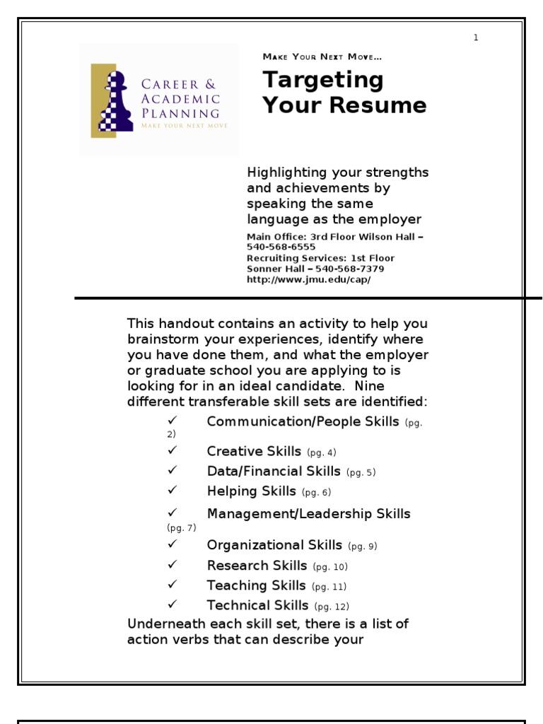 Generous Resume Checklist Of Transferable Skills Photos - Examples ...