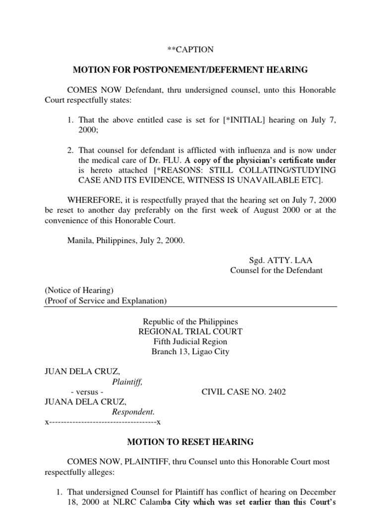 motions for deferment postponement resetting and pre trial brief
