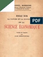 Essai sur la nature et la signification de la science économique - Lionel Robbins
