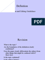 Definition Revision and Editing