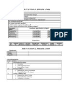 SAP Functinal Specification
