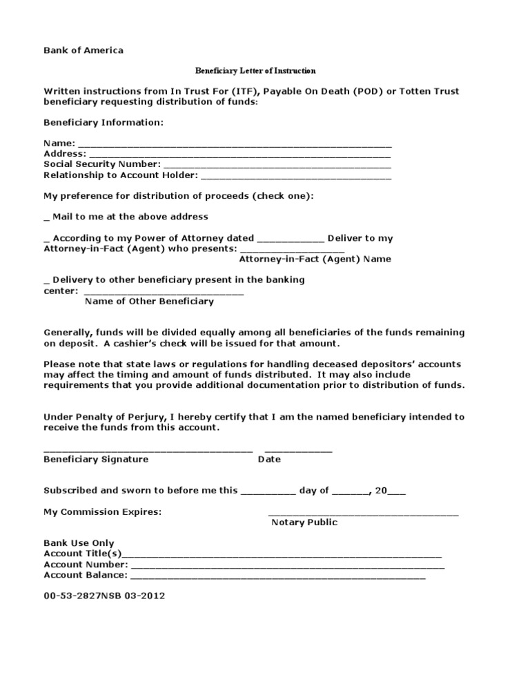 Beneficiary Letter of Instruction