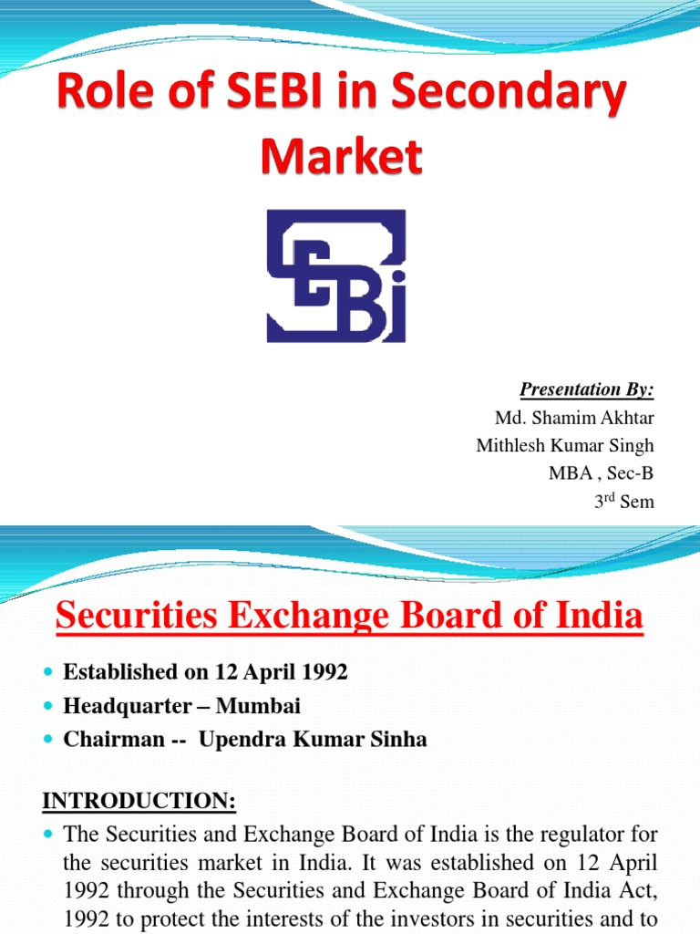 role of secondary market