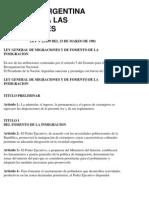 Ley argentina sobre migración, ley 22.439 de 1981
