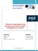 Subsidy on Agriculture and energy sector in Bangladesh