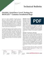 SAFC Biosciences - Technical Bulletin - Sterility Assurance Level Testing for BIOEAZE Gamma Irradiated Bags