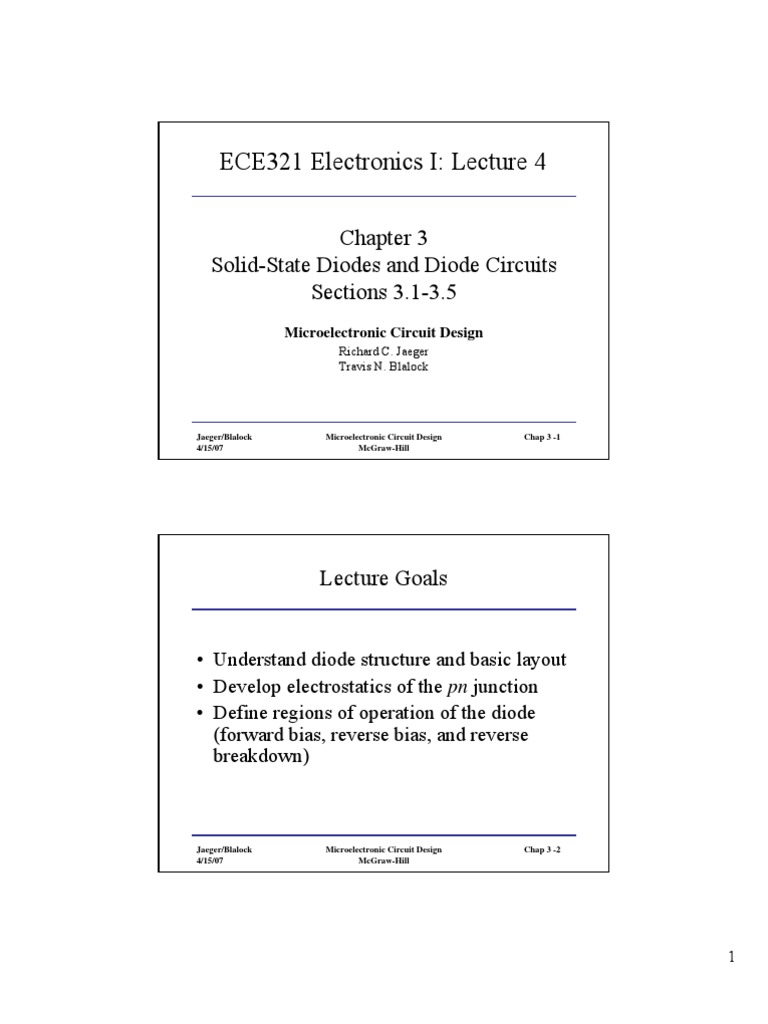 Ece321 Lecture 4 31 35 Pn Junction Diode Understanding The