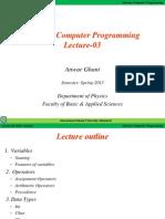 Lecture 03 ANWAR GHANI IIUI