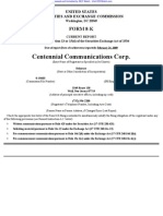 CENTENNIAL COMMUNICATIONS CORP /DE 8-K (Events or Changes Between Quarterly Reports) 2009-02-24