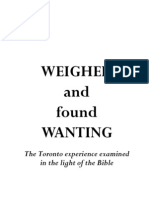 Weighed and Found Wanting